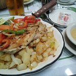 my order, porkchops with potatoes and greens and apple sauce