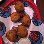 Fried shrimp, catfish and hush puppies.