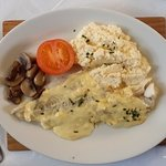 A nice Scottish breakfast, Haddock with scrambled eggs.