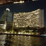 View of hotel as we return from city on riverboat.