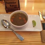 The best meat soup for lunch. Nice taste, if you like spicy try the pimento besides the plate!