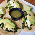 Tacos de Rajas, roasted poblano peppers. Photo authorized by Jennifer Collins Photography