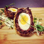 Venison and boudin noir scotch egg, celeriac remoulade.