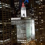Wrigley Building at night from the room