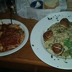 Seared scallops over onion risotto & Veal Parmigiana