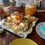 Seafood Platter and a fresh Coco Loco