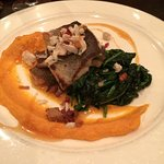 Trout with almonds, sweet potato puree and spinach