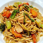 WOK of noodle, chicken, vegetables and Teriyaki sauce