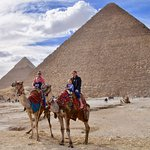 our camel ride next to the great pyramid