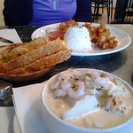 Fish soup and fried shrimp meals.