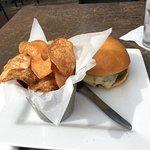 AZ Burger with house chips and a mug of Stella Artois!