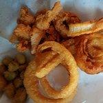 Chicken tenders, Onion rings, Fried Okra