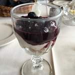 Breakfast first course: lovely yogurt with fresh blueberry compote