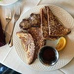 French toast with side of sausage (the sausage is definitely better than the bacon!)