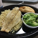 Lemon Pepper White Fish with broccoli and roll
