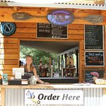 Order here! Local Farm-to-table food items, cold drinks, local beer on tap, and local wines.