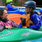 Wet Planet instructor passes on Kayaking stoke to Kids Camp student