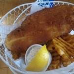 Ginormous 1/2 lb haddock fillet with waffle fries and coleslaw - Only $10.50!!!