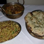 Tasty meal - Keema Rice, Chicken Jalfrezi and Garlic & Chilli Nan