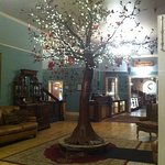 Lovely tree in lobby decorated with hearts.