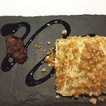 Creme dessert on slate