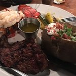 Amazingly delicious steak and lobster and our waitress Danny is just a kick in the pants and our