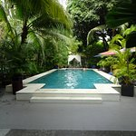 Pool, tropical gardens and restaurant