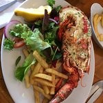 The Garlic Lobster with a side salad and chips