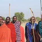 Masai tribesmen doing the welcome dance
