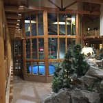 Second floor room, view of one of the many hot tubs