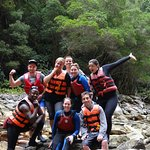 Our group shot with Freddie our tour guide in the gorge after paddling on the lilos