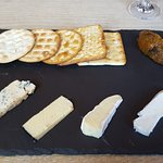 ​Selection of British cheeses, pear and saffron chutney