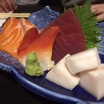 Salmon, surf clam, tuna and white fish.
