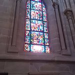 There are stained glass windows all around the cathedral