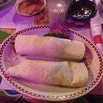 Carne asada burrito + bean and cheese burrito I took a bite out of