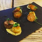 New delicious specials starter, Pan Seared Scallops served with Pigs Trotter and Parsnip Puree