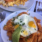 Chiliquiles and breakfast burger (but not a burger)