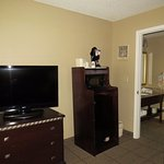 Living room TV, Refrigerator, microwave, coffee maker