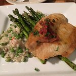 This is pan-fried tilapia with asparagus and peas. Very good!