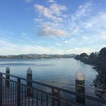 View of Tauranga Harbour from our table at Halo Lounge and Dining