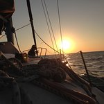 Watching the sun go down after several hours of wonderful sailing!