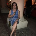My beautiful wife with a mojitos on the sidewalk