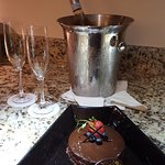 Small cake I requested for a birthday surprise. They even added the sparkling wine. No extra cha