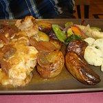 Araignée de porc,riz et petites légumes,pommes de terre sautées