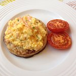 Breakfast was simply fabulous. Scrambled eggs with salmon and chives on a giant crumpet.