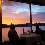 Carusoe's Restaurant Sunset through the windows overlooking the lake