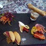 Plein de bonnes choses : Foie gras, soupe de butternuts et chataignes, saumon, chantilly...
