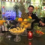 Front lobby bar! Christian created true works of art from fruits and vegetables!