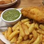 This was the medium meal: medium cod, chips, mushy peas, bread and butter and a cup of tea