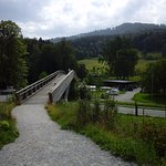 The bridge going to the car park
